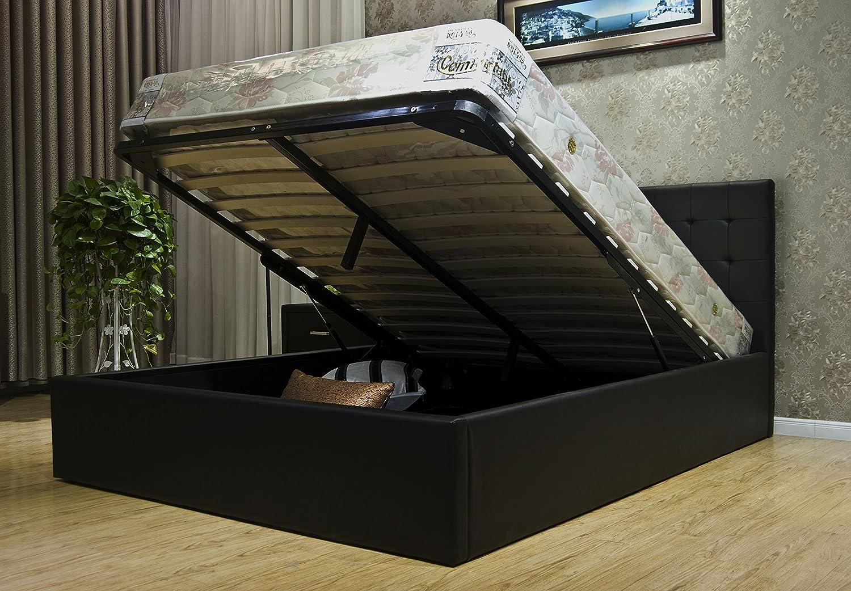GREATIME BS1111-2 Eastern King Black Leatherette Storage Bed