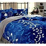 Home Ecstasy 100% Cotton Printed Bedsheet Set 3016 (Blue,Double)