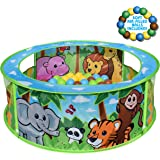 Sunny Days Entertainment Zoo Ball Pit with Balls Included – Pop Up Play Tent   Jungle Ball Pits for Toddlers