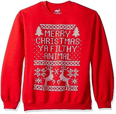freeze mens merry christmas ya filthy animal sweatshirt red small