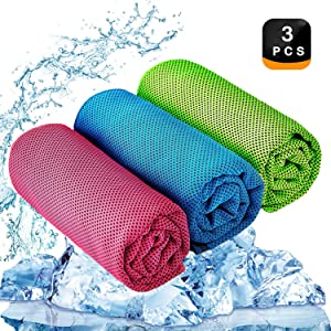 """YQXCC Cooling Towel 3 Pcs (47""""x12"""") Microfiber Towel for Instant Cooling Relief, Cool Cold Towel for Yoga Golf Travel Gym Sports Camping Football & Outdoor Sports (Light Blue/Green/Rose Red)"""