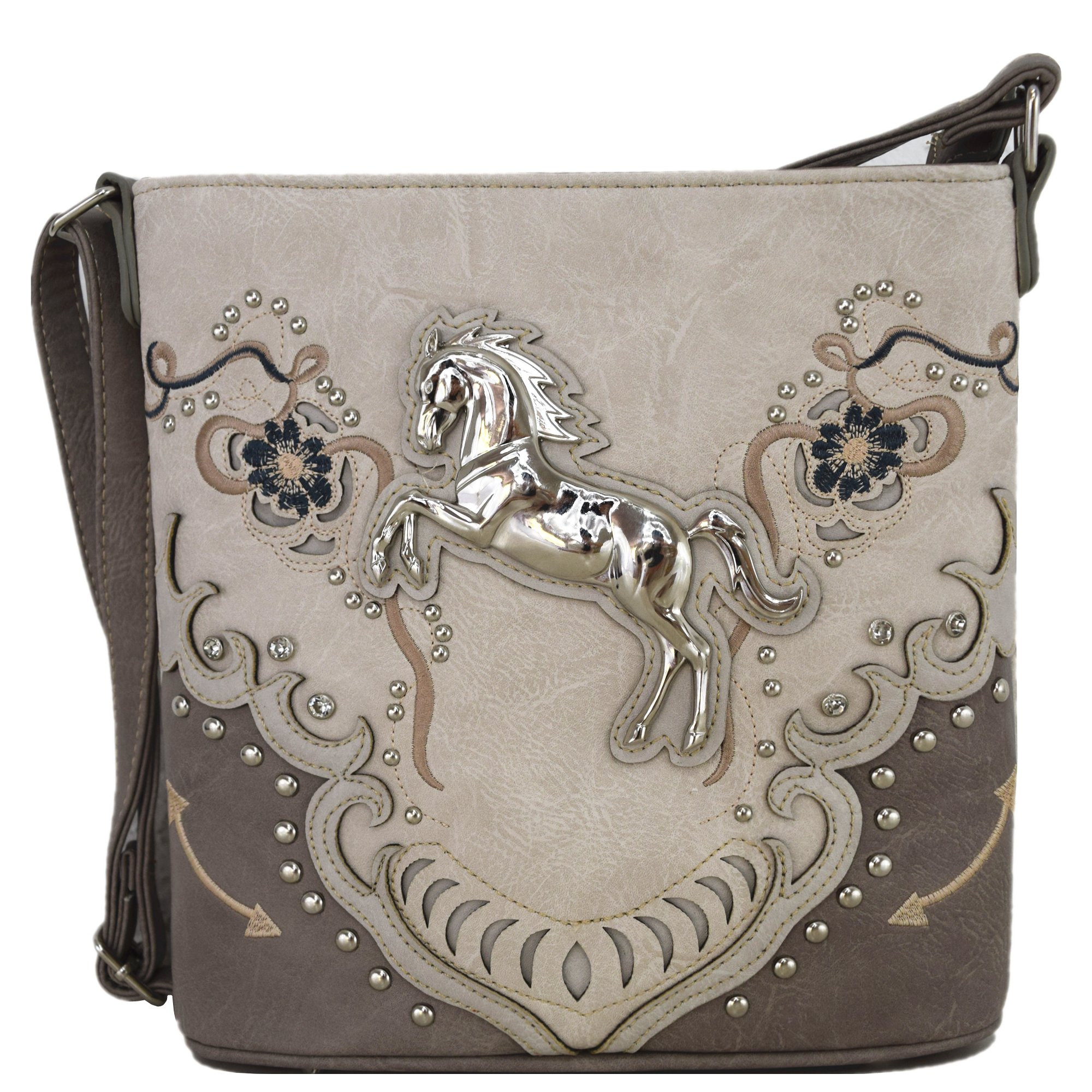 Western Cowgirl Style Horse Cross Body Handbags Concealed Carry Purses Country Women Single Shoulder Bag (2 Gray)