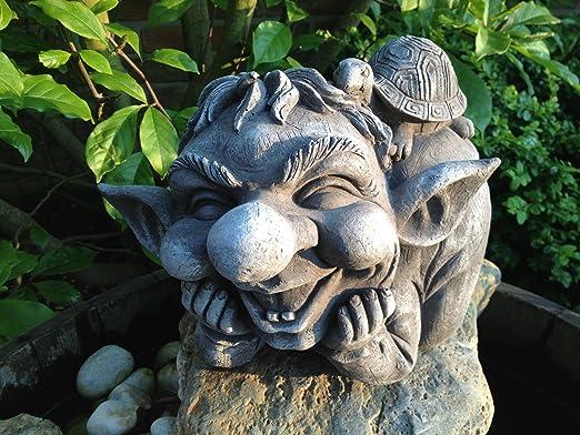 piedra Figura TROLL gnomo Jardín figuras para decoración del jardín estanque Fantasía Figura Figura de piedra Figura TROLL gnomo figuras para jardín decoración de jardín Fantasía: Amazon.es: Jardín