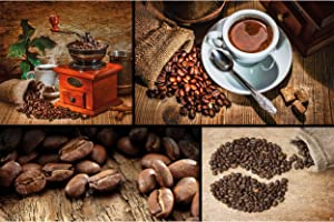 GREAT ART Poster – Coffee Collage – Picture Decoration Grinder Beans Cup Cappuccino Latte Macchiato Café Barista Warm Colors Image Photo Decor Wall Mural (55x39.4in - 140x100cm)