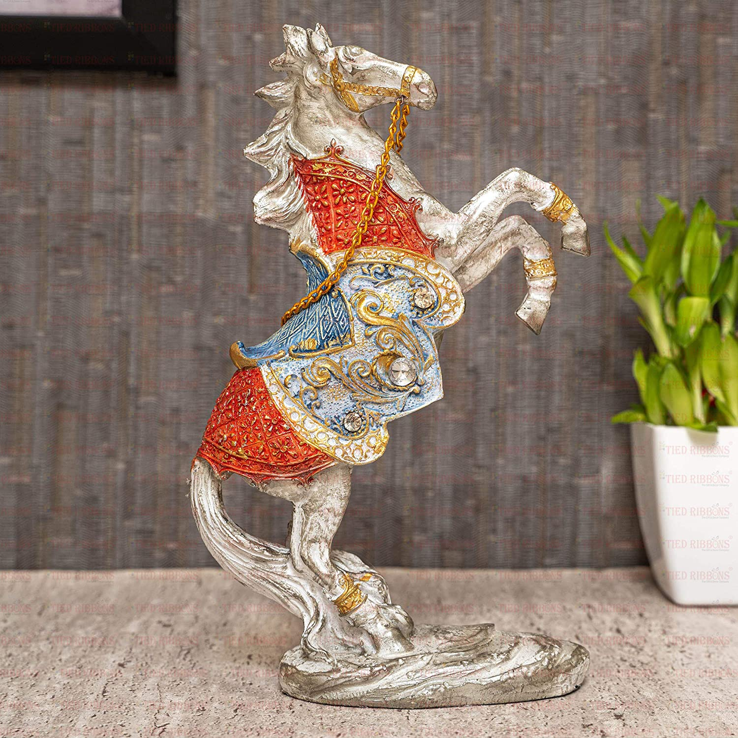 TIED RIBBONS Roaring Horse Statue Showpiece for Home Decor (Polyresin, 18 cm X 15cm) - Diwali Home Decoration Figurines
