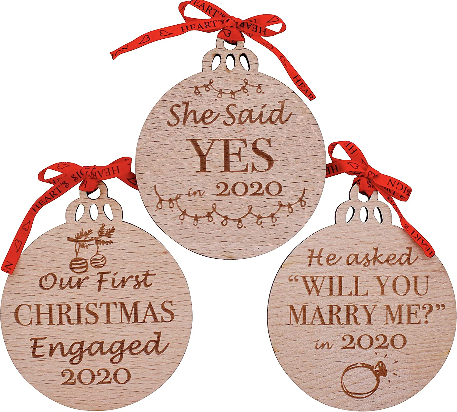 Heart's Sign First Christmas Engagement Gift for Couples 2020 Set of 3 | Our First Christmas Engaged Ornament 2020 | Ornaments Engagement | Wedding Decor
