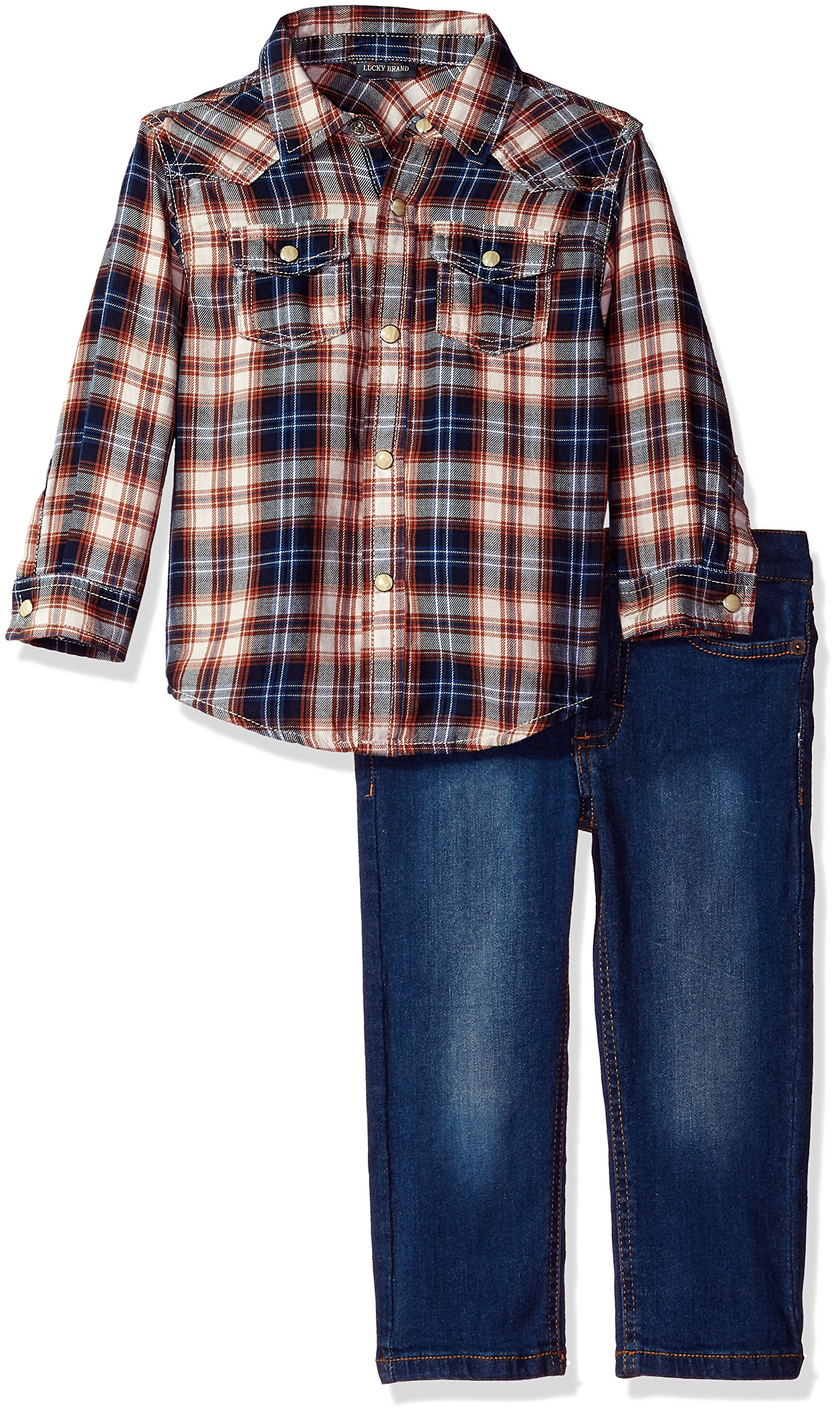 Lucky Brand Boys' Toddler Woven Pant Set, Blue/Orange Plaid, 4T