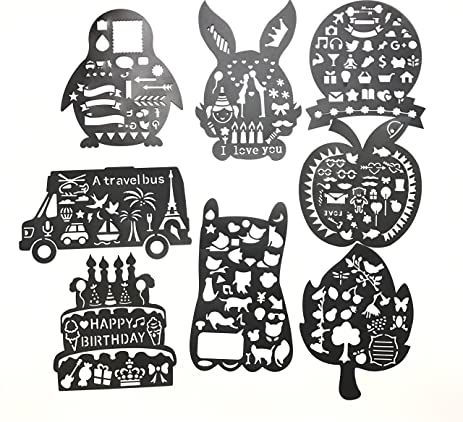 VEEPPO Pack Of 8 Childrens Hollow Drawing Painting Template Set Graphics Stencils For DIY Album Scrapbook