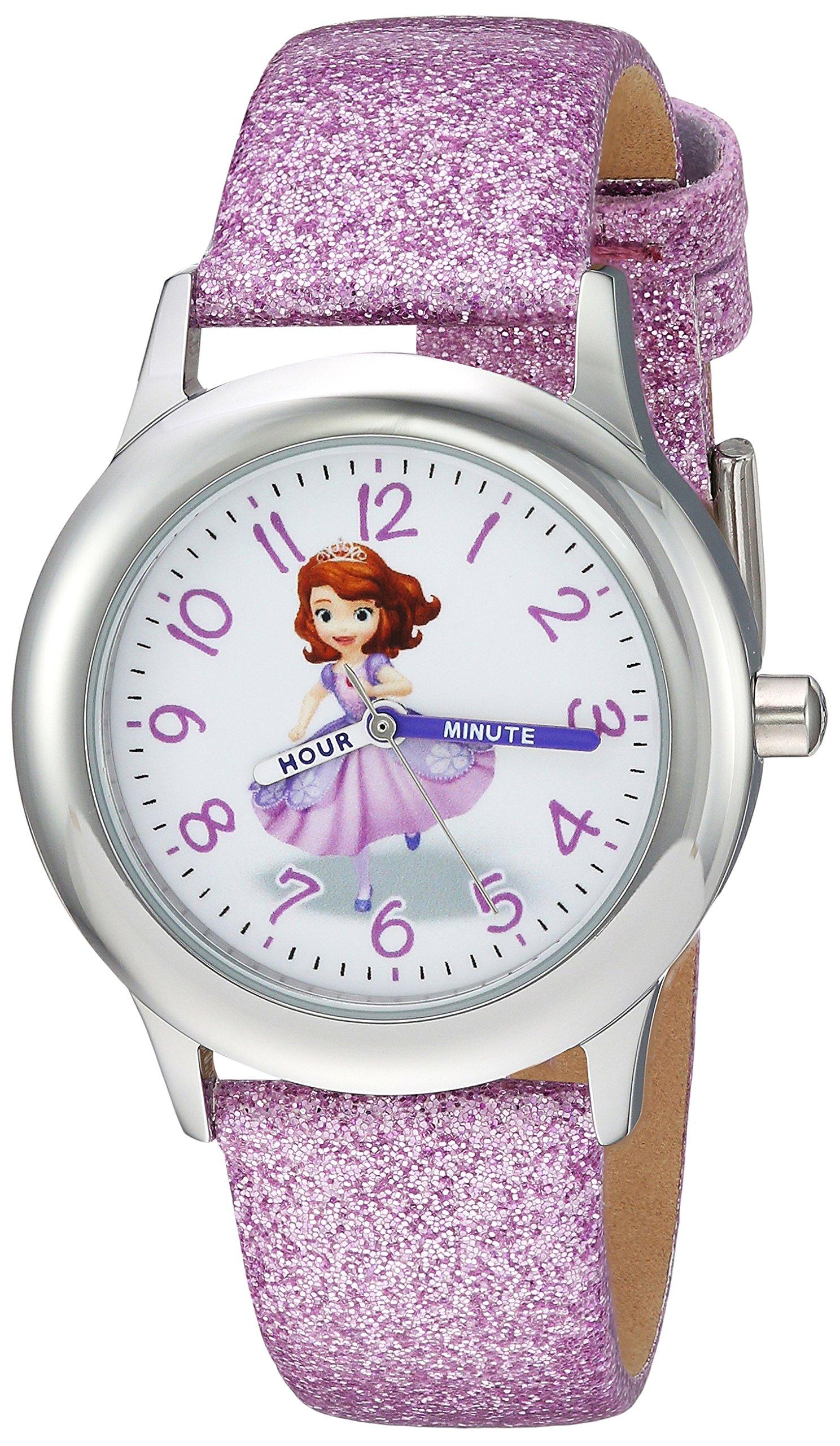 DISNEY Girls Princess Sofia Stainless Steel Analog-Quartz Watch with Leather-Synthetic Strap, Purple, 15 (Model: WDS000269)
