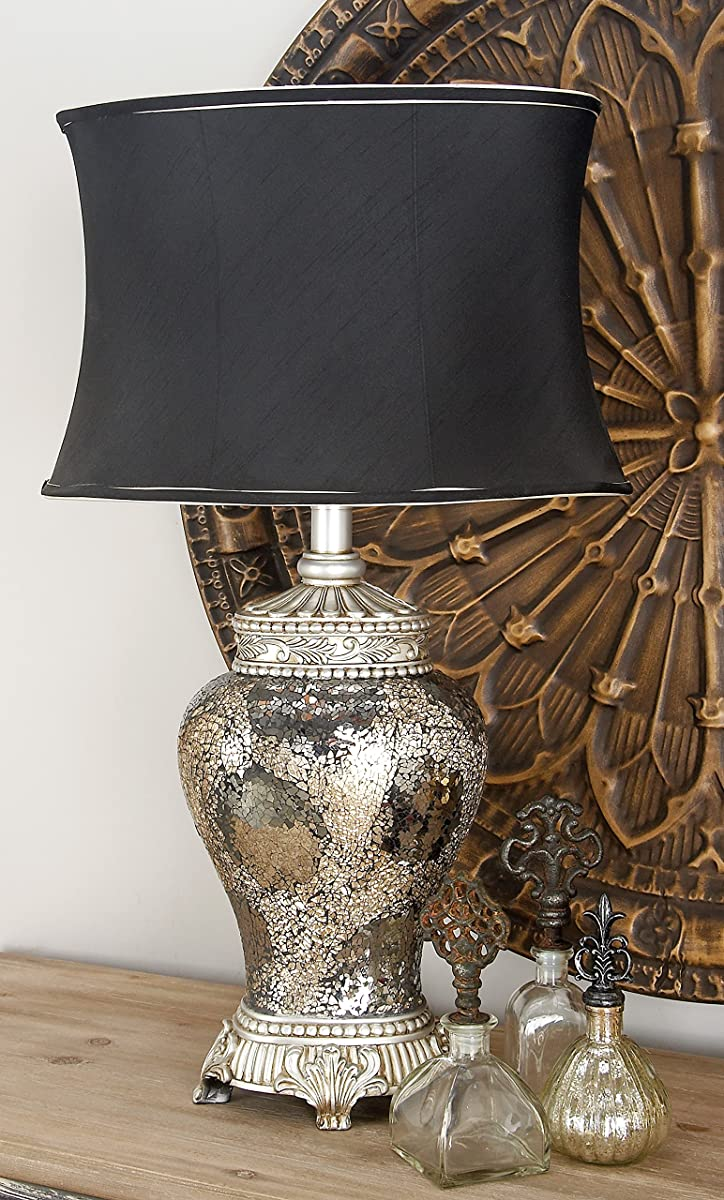 """Deco 79 40158 PS Mosaic Table Lamp, 30"""", Black/Silver"""