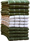 "HomeLabels Kitchen Towels (12 Pack, 15""x 25"") 100% Premium Cotton, Machine Washable Extra Soft Set of 12, 3 Designs Dobby Weave Kitchen Dish Cloths, Tea Towels, Bar Towels, Green"