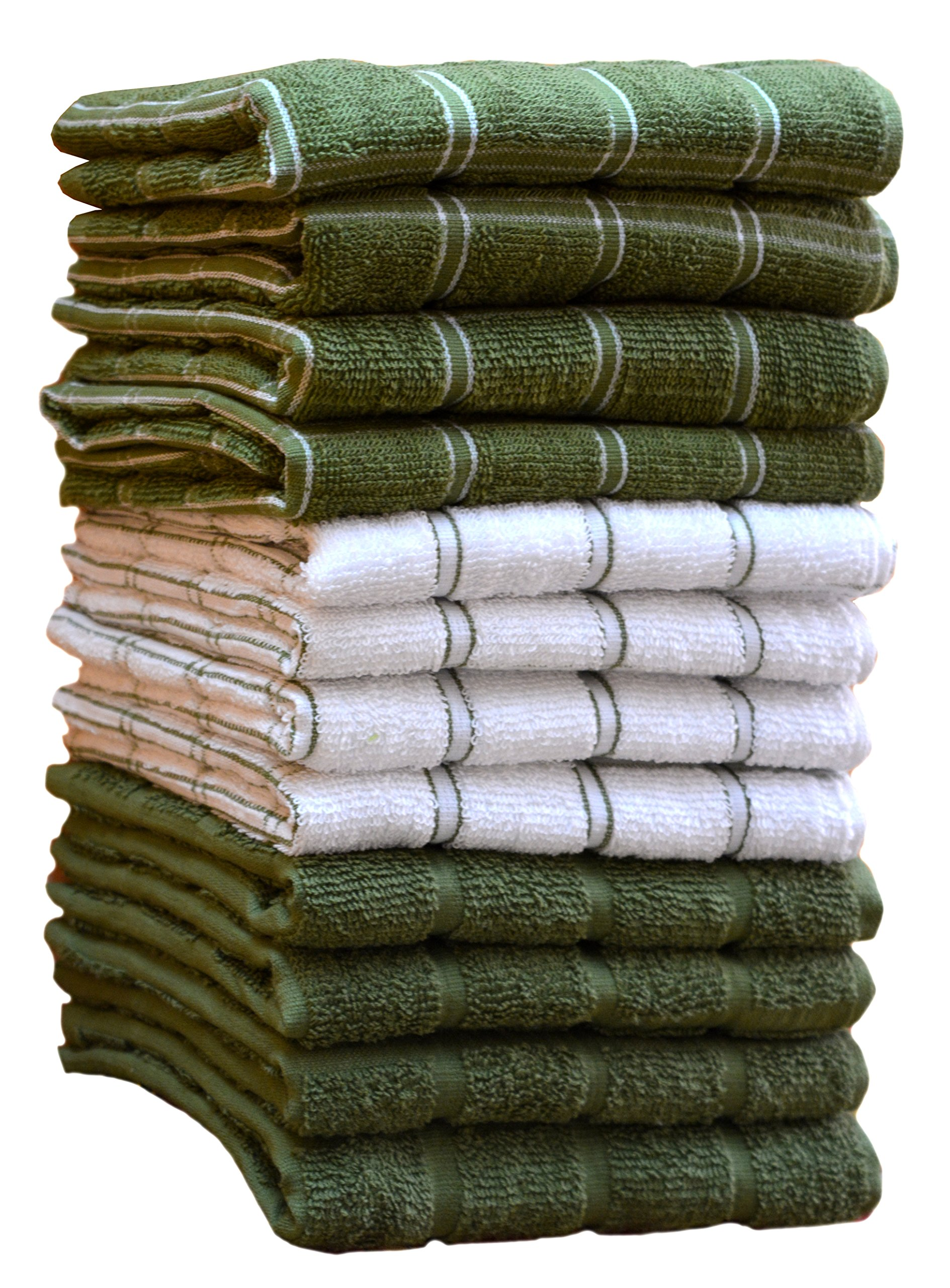 HomeLabels Kitchen Towels (12 Pack, 15''x 25'') 100% Premium Cotton, Machine Washable Extra Soft Set of 12, 3 Designs Dobby Weave Kitchen Dish Cloths, Tea Towels, Bar Towels, Green