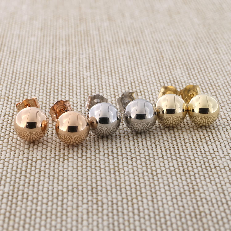 f3264605db40 Women 14 Karat Yellow Gold Round Bead Ball Stud Earrings 7mm Beauniq  beauniq-438