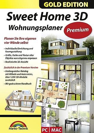 Sweet Home 3d Wohnungsplaner Premium Edition Mit Zusätzlichen 1100 3d Modelle Und Gedrucktem Handbuch Ideal Für Die Architektur Haus Und