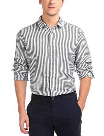 0a87b0dd24 GAP Men's Linen Cotton Stripe Shirt (145331900015_52641356300_S_Night)