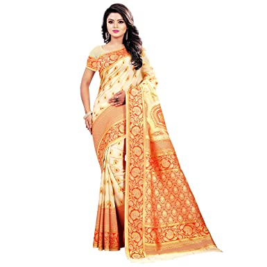 163d56078e Jay Fashion woven emblished zari work new collection banarasi silk saree  with blouse pc d: Amazon.in: Clothing & Accessories