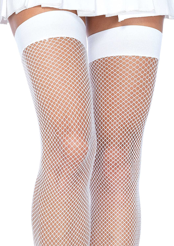 Leg Avenue womens Nylon fishnet thigh-high