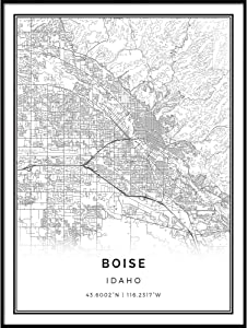 Squareious Boise map Poster Print | Modern Black and White Wall Art | Scandinavian Home Decor | Idaho City Prints Artwork | Fine Art Posters 20x30