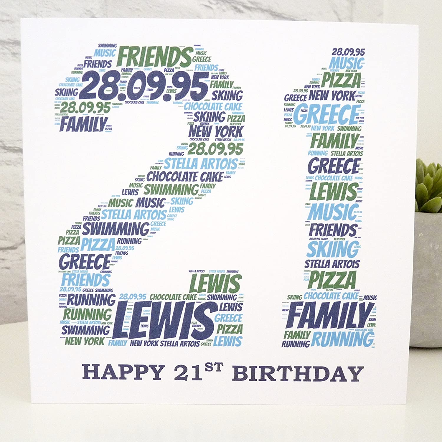 Amazon Personalized 21st Card Birthday Handmade