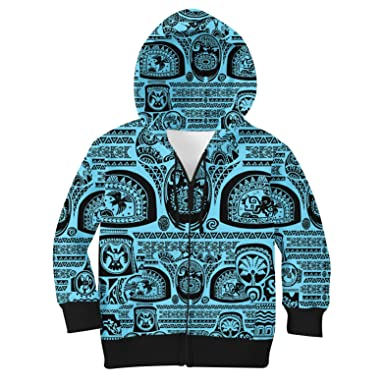Amazon.com: Maui Tattoos Inspired Disney Moana Kids Zip up Hoodie ...