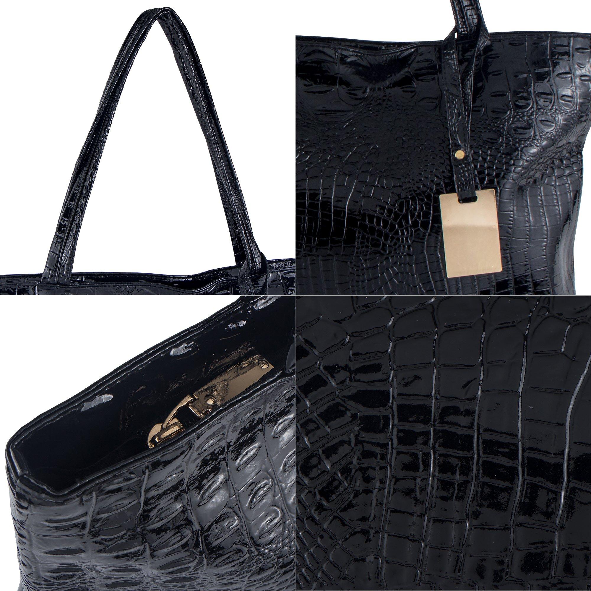 Bagood Womens Crocodile Pattern PU Leather Casual Shopping Handbags High Capacity Shoulder Ladies Soft Bag for Wedding Bridal Prom Party Black by Bagood (Image #5)