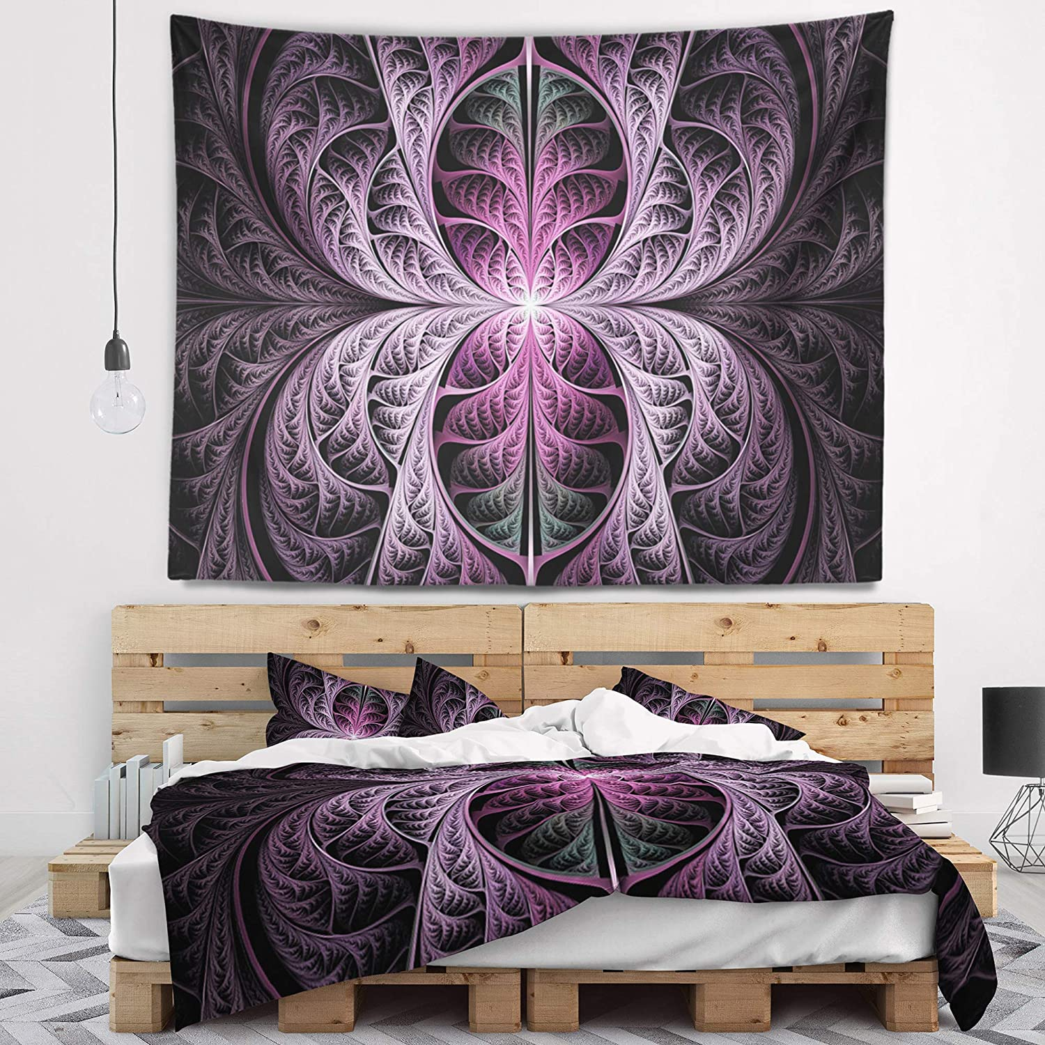 Designart TAP15871-60-50  Purple Glowing Fractal Stained Glass Abstract Blanket D/écor Art for Home and Office Wall Tapestry Large 60 x 50