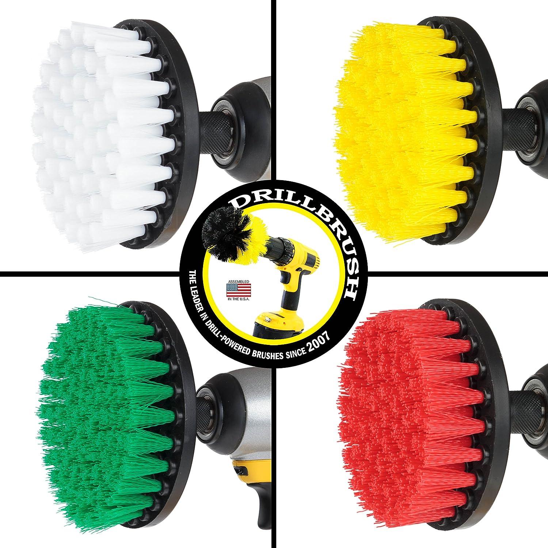 vert blanc rouge Drillbrush Nylon puissance rotative Scrub Brosse de nettoyage Kit convient /à votre perceuse sans fil jaune