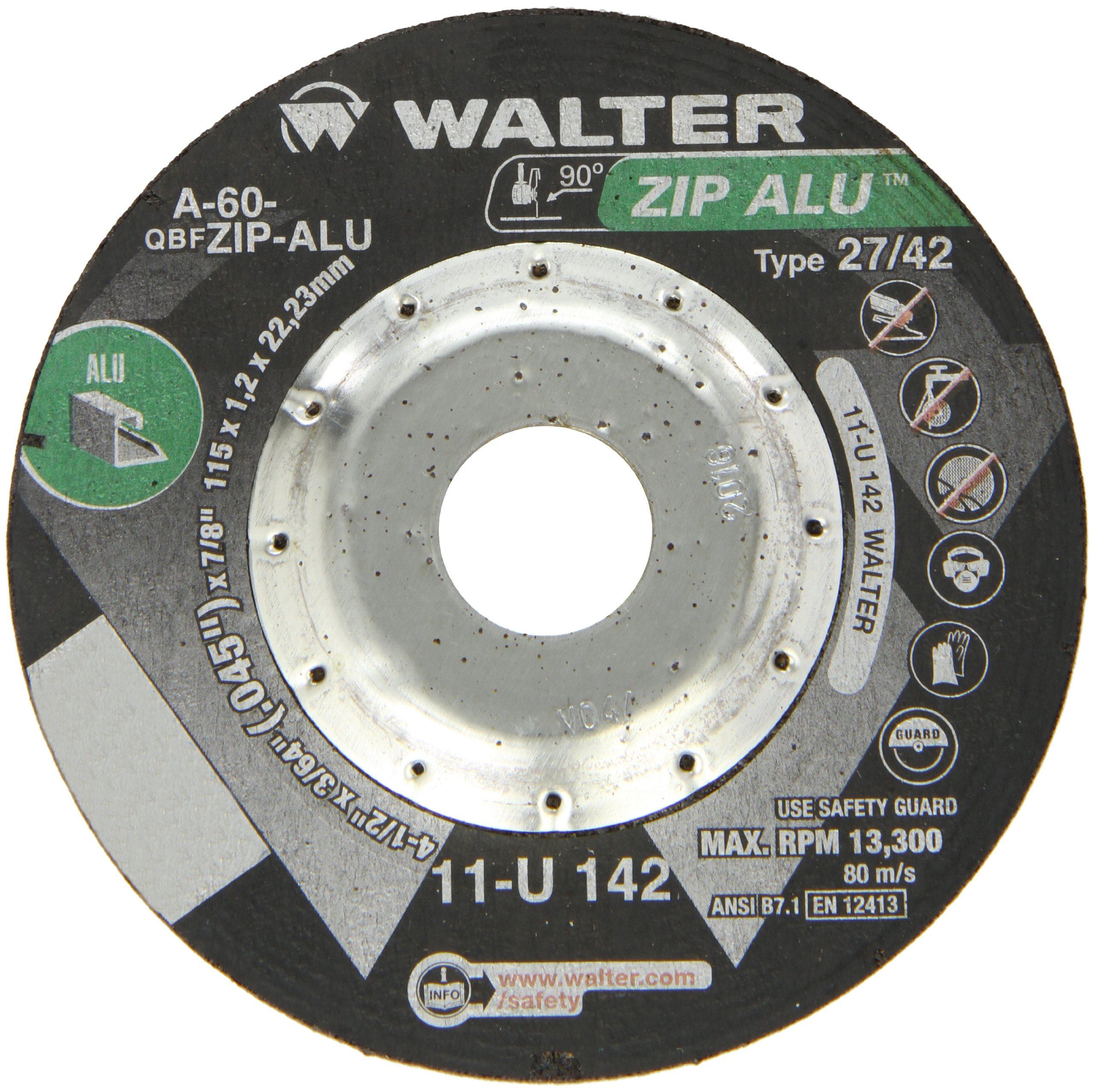 Walter ZIP Alu Fast and Free Cutoff Wheel, Type 27, Round Hole, Aluminum Oxide, 4-1/2'' Diameter, 3/64'' Thick, 7/8'' Arbor, Grit A-60-ZIP-ALU (Pack of 25)