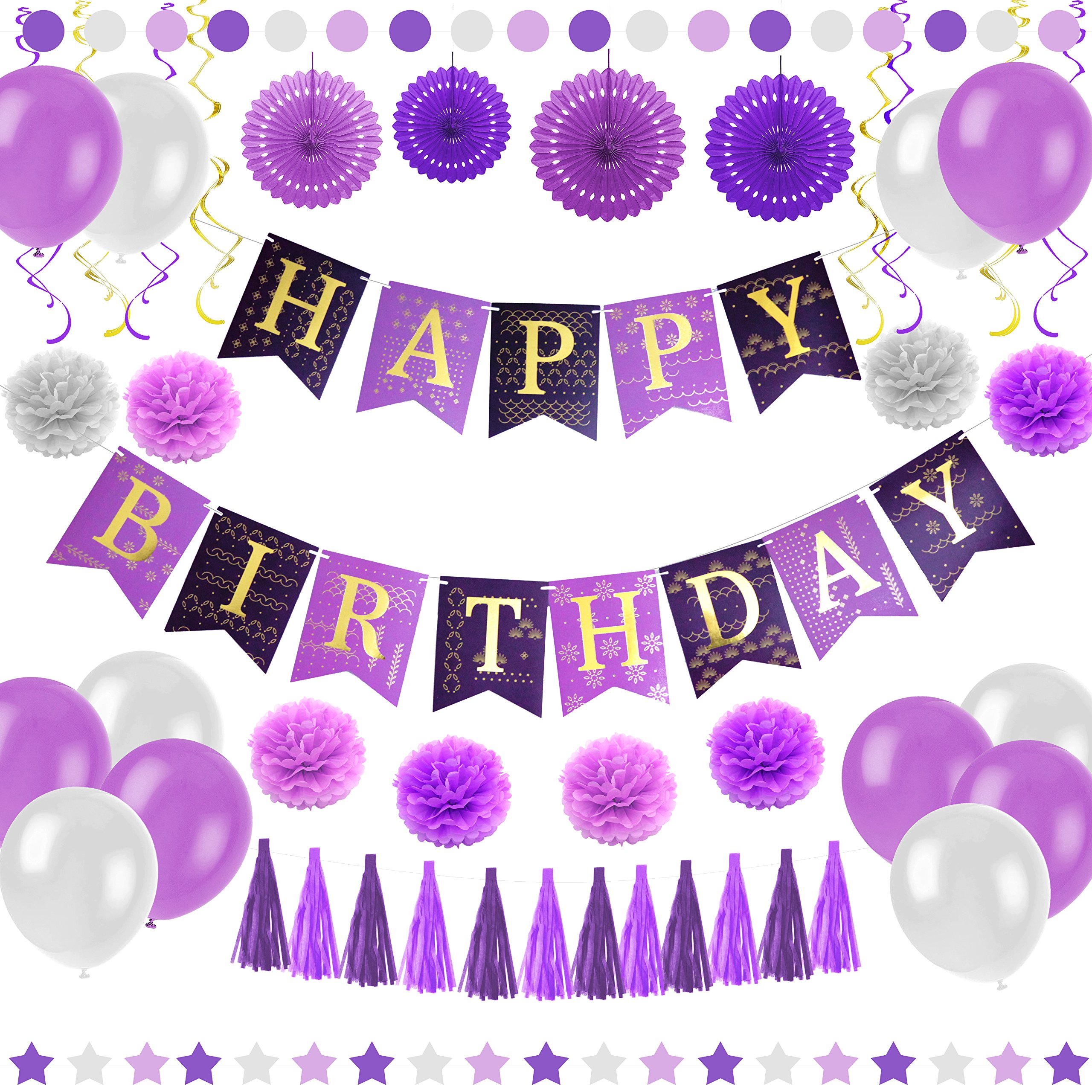 Purple Happy Birthday Party Decorations - Supplies Set for Adult Women & Men - Boy & Girl Kids - Includes Hanging Wall Bunting Flag Banner with Gold Letters, Pom Poms, Paper Fans, Garlands, Baloons by Enfy