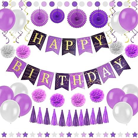 Purple Happy Birthday Party Decorations
