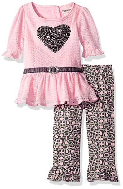 ea8bd9b820e5 Amazon.com  Little Lass Baby Girls  2 Piece Legging Set Zigzag ...