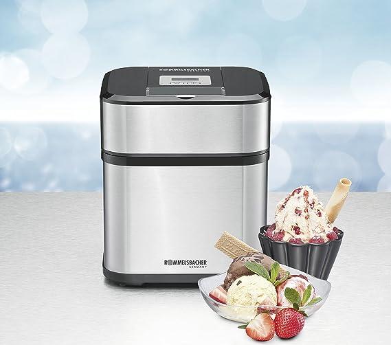 Rommelsbacher IM 12 Heladera tradicional 1.5L 12W Negro, Acero inoxidable máquina para helados - Heladora (Heladera tradicional, 1,5 L, 40 min, 1 senos, ...