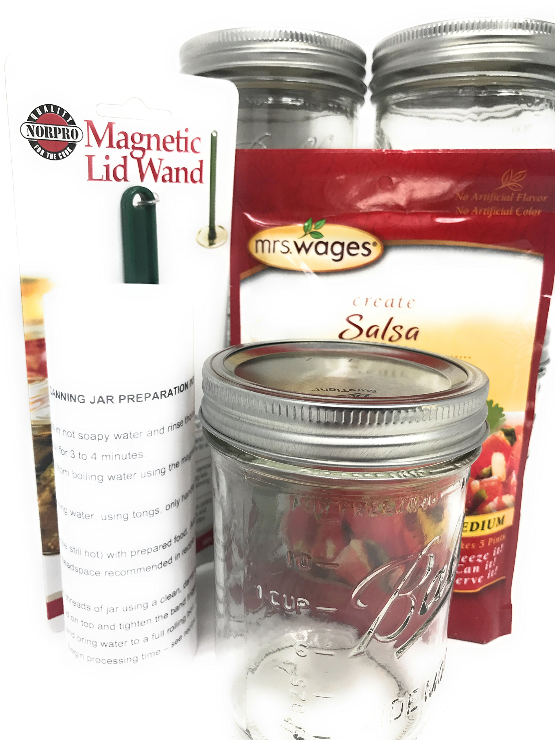 Salsa Canning Kit, Jars Gift-Set Spices, Magnet Wand makes 5 1-Pint Jars; with Canning Preparation Instructions
