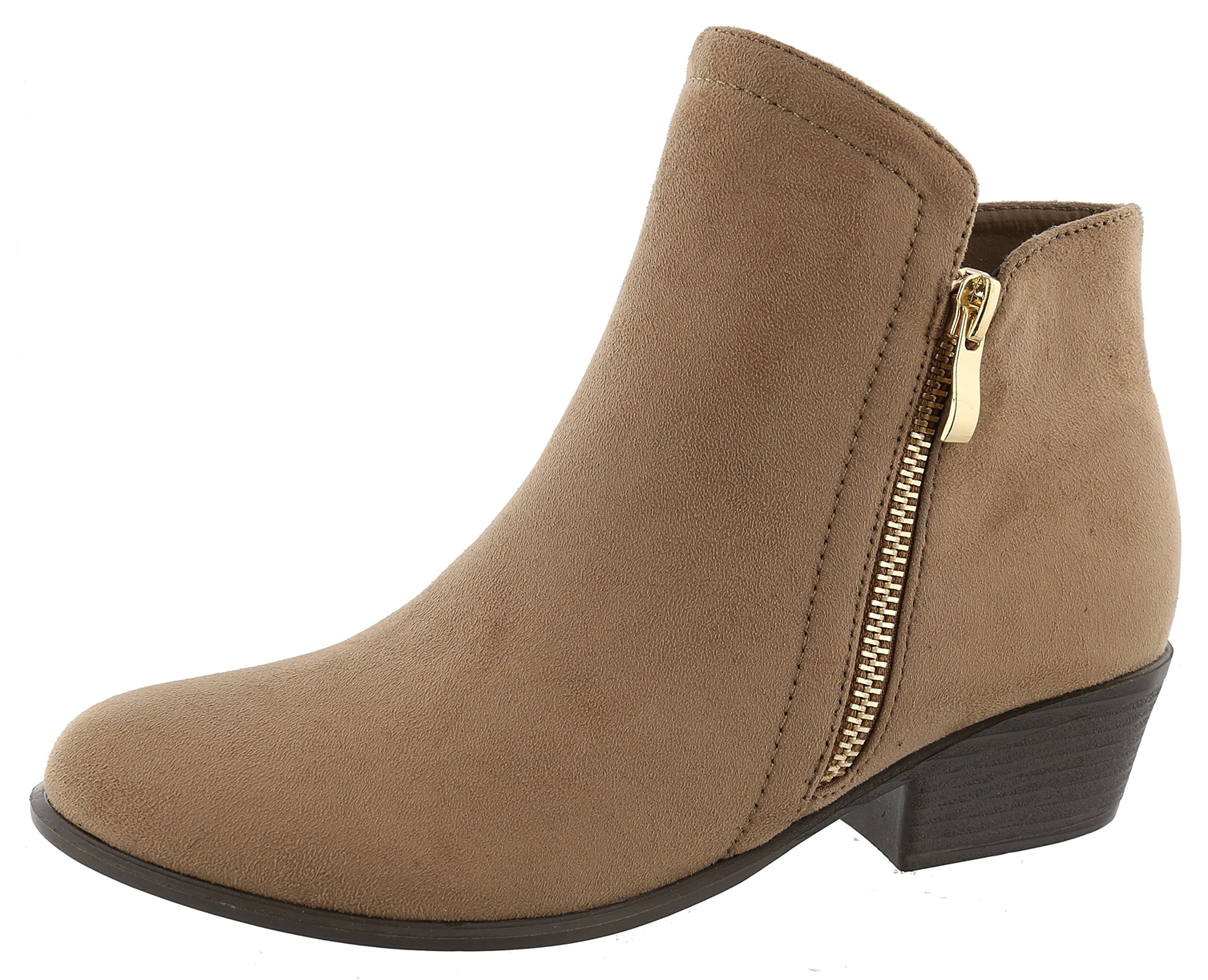 Top Moda Women's Closed Round Toe Zipper Chunky Stacked Block Heel Ankle Bootie (8.5 B(M) US, Taupe)