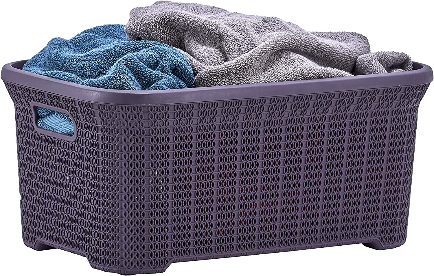 Superio Laundry Basket Knit Style, Purple 40 Liter Laundry Bin for Dirty Cloths - 1.15 Bushel