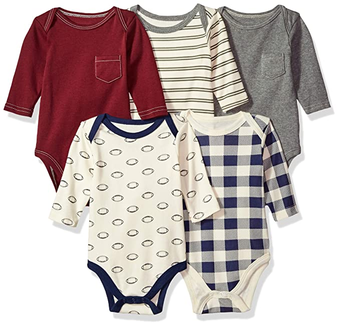 e30f1f559 Image Unavailable. Image not available for. Color: Hudson Baby Baby Long  Sleeve Bodysuit 5 Pack ...