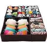 Finnhomy Foldable Storage Closet Bra Underwear Organizer Drawer Divider, 4 Sets, Dark Brown