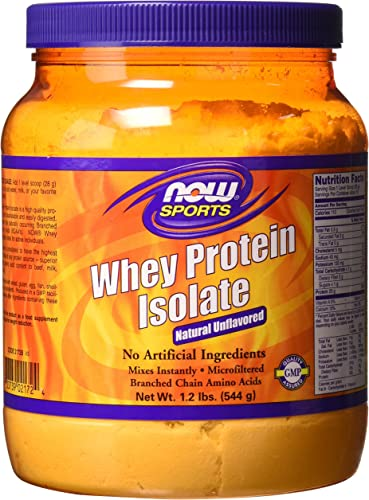 NOW Sports Whey Protein Isolate Powder with BCAAs – Unflavored – 1.2 lb