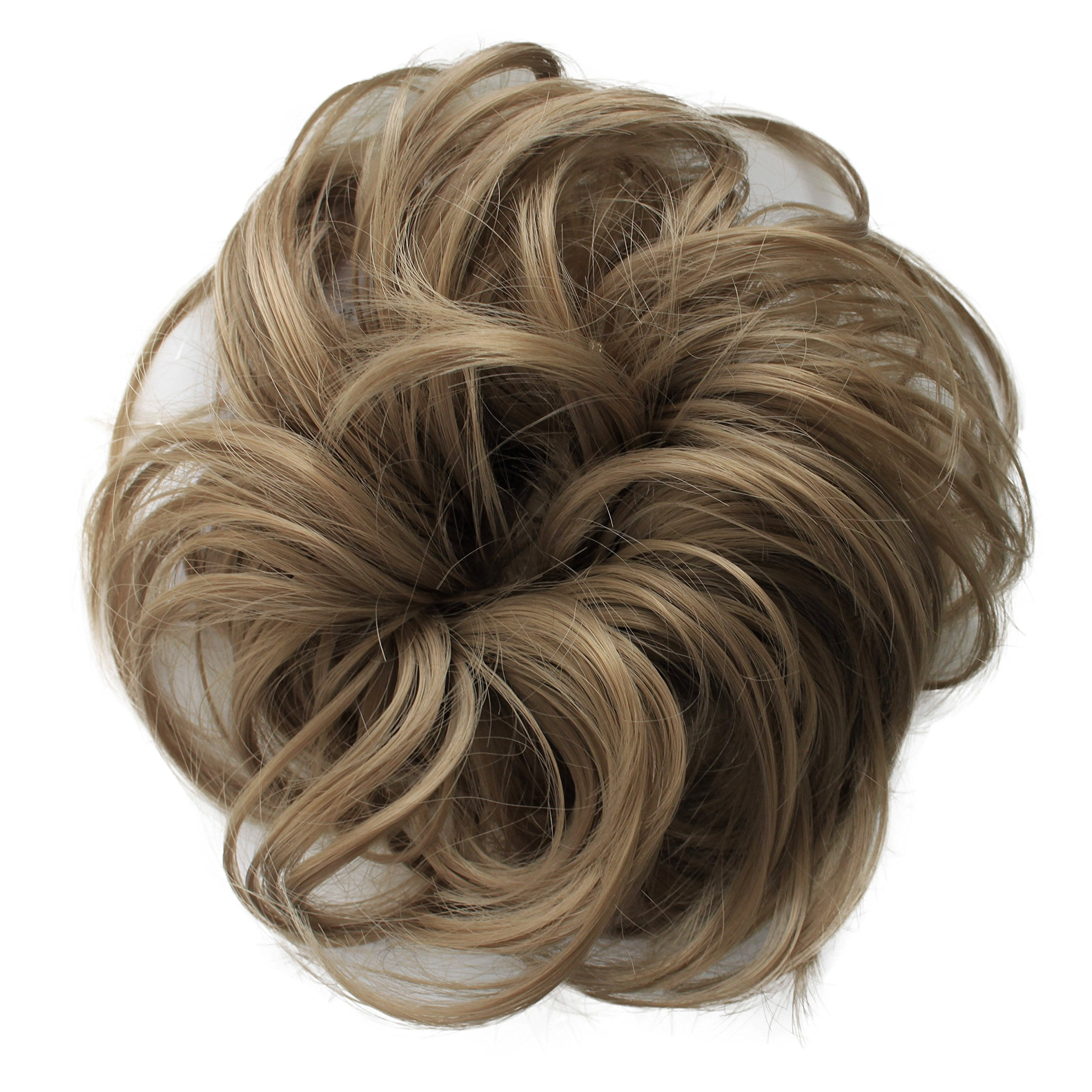 PRETTYSHOP Hairpiece Scrunchie Bun Up Do | Ponytail Extensions | Wavy Curly or Messy (Natural Blonde 16)