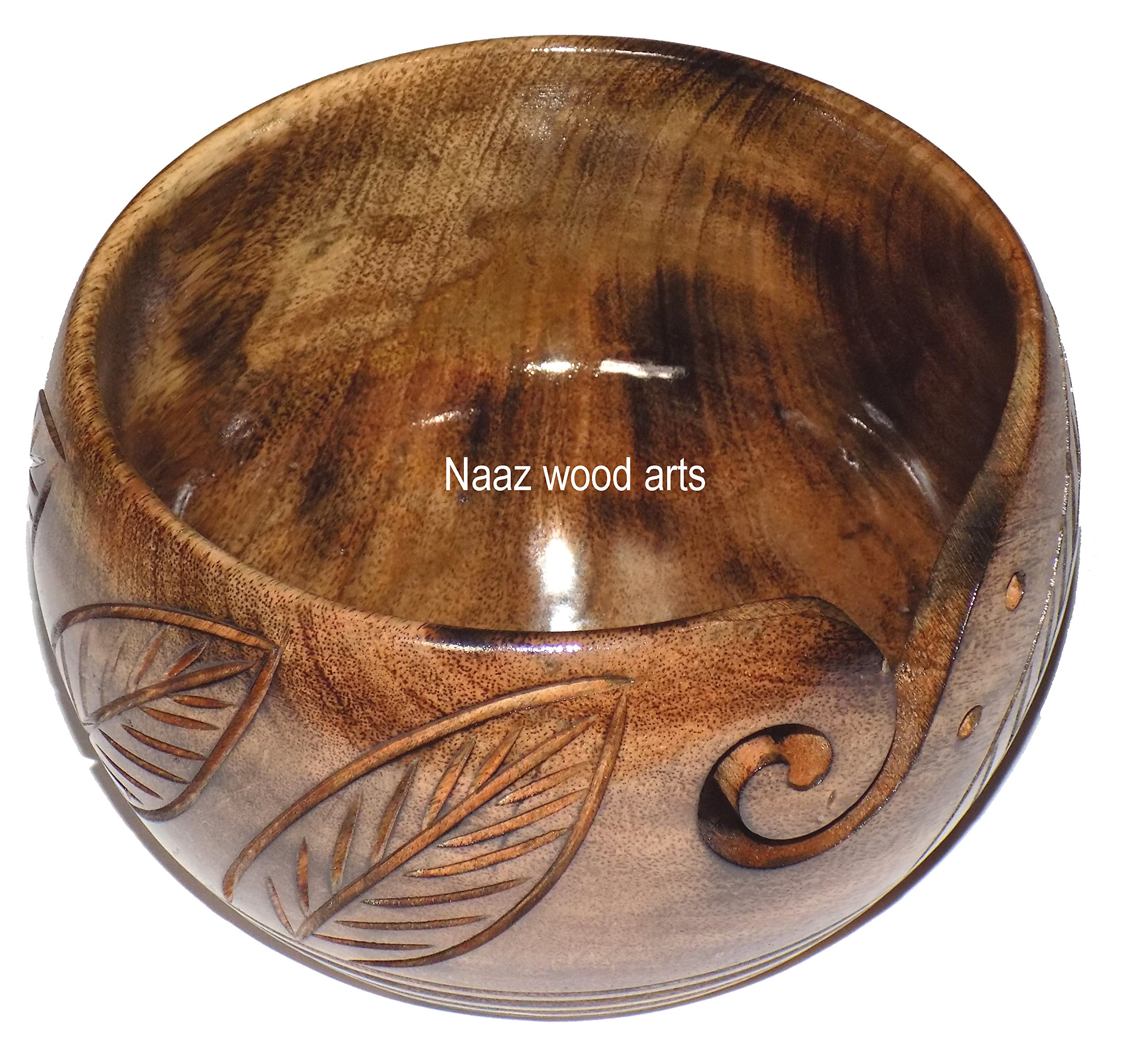 Naaz Wood Arts Yarn Bowl-7''x4'' Rosewood -Wooden with Handmade from Sheesham Wood- Heavy & Sturdy to Prevent Slipping. Perfect Yarn Holder for Knitting & Crocheting Burn antiqe with Hand Carved New s