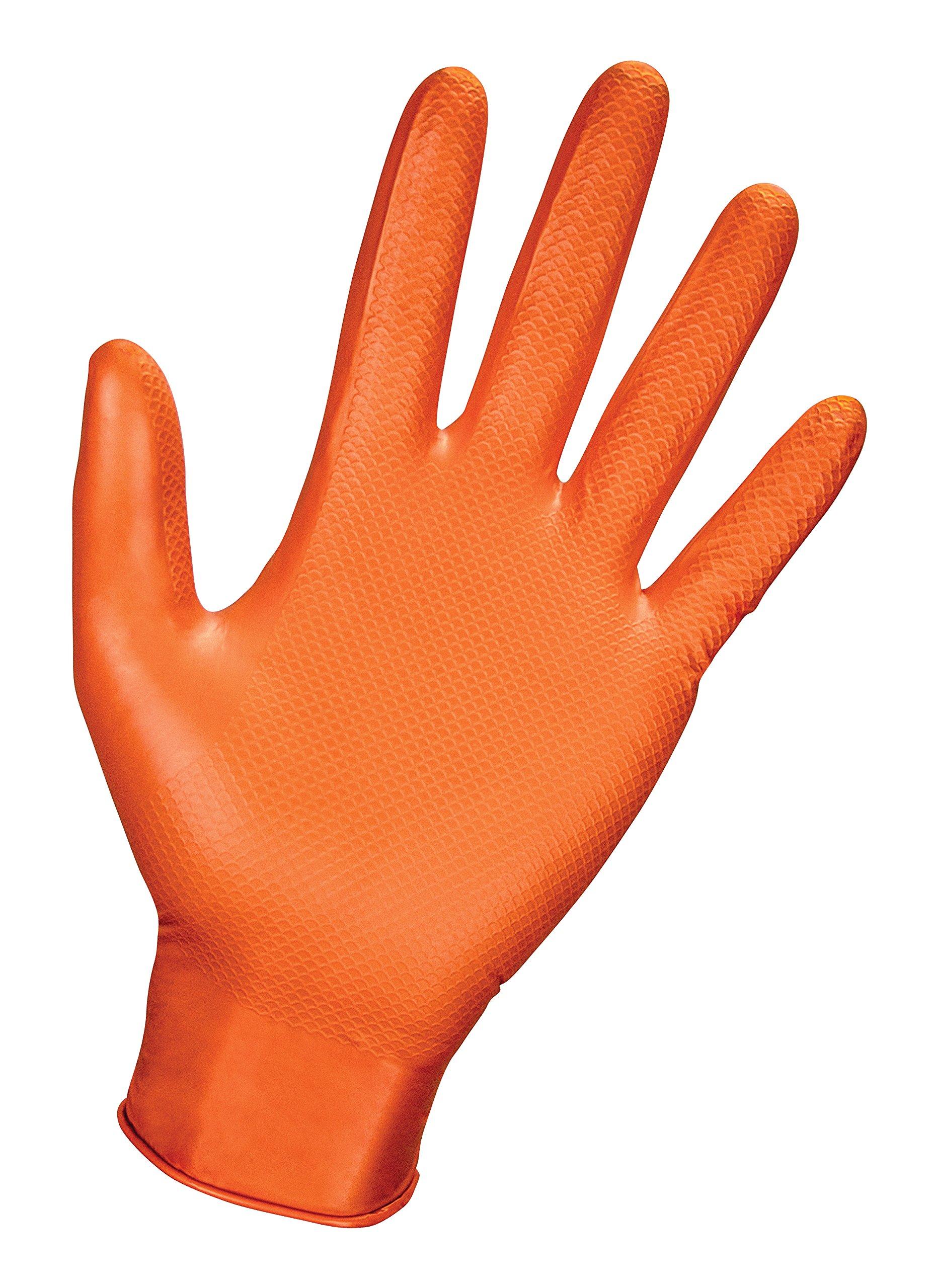 SAS Safety 66574 Astro-Grip Powder‐Free 7 Mil Nitrile Gloves, X-Large, Orange