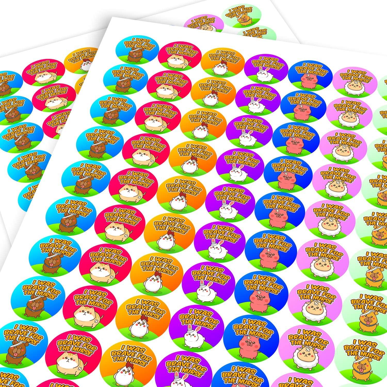 Graphic Flavour Brave Animals Dentist Sticker Labels Children Parents Teachers Kids Party Reward 2.5 CM x 140 // 2, A4 Sheets