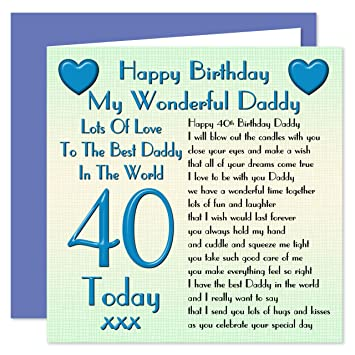 Daddy 40th Happy Birthday Card