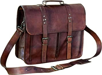 "Crafat 13/"" Vintage 100/% Leather Laptop Shoulder Office Cross Body Messenger Bag"
