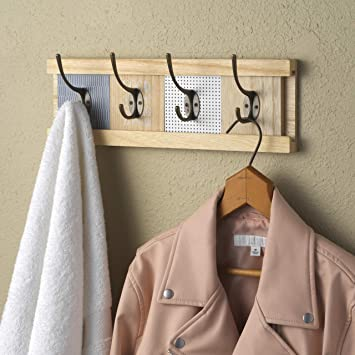 Perchero de pared personalizable de madera, barra de gancho ...