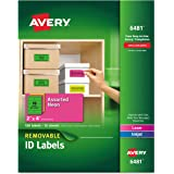 Avery Multipurpose Labels, Removable, Assorted Neon, 2 x 4 Inches, Pack of 120 (6481)