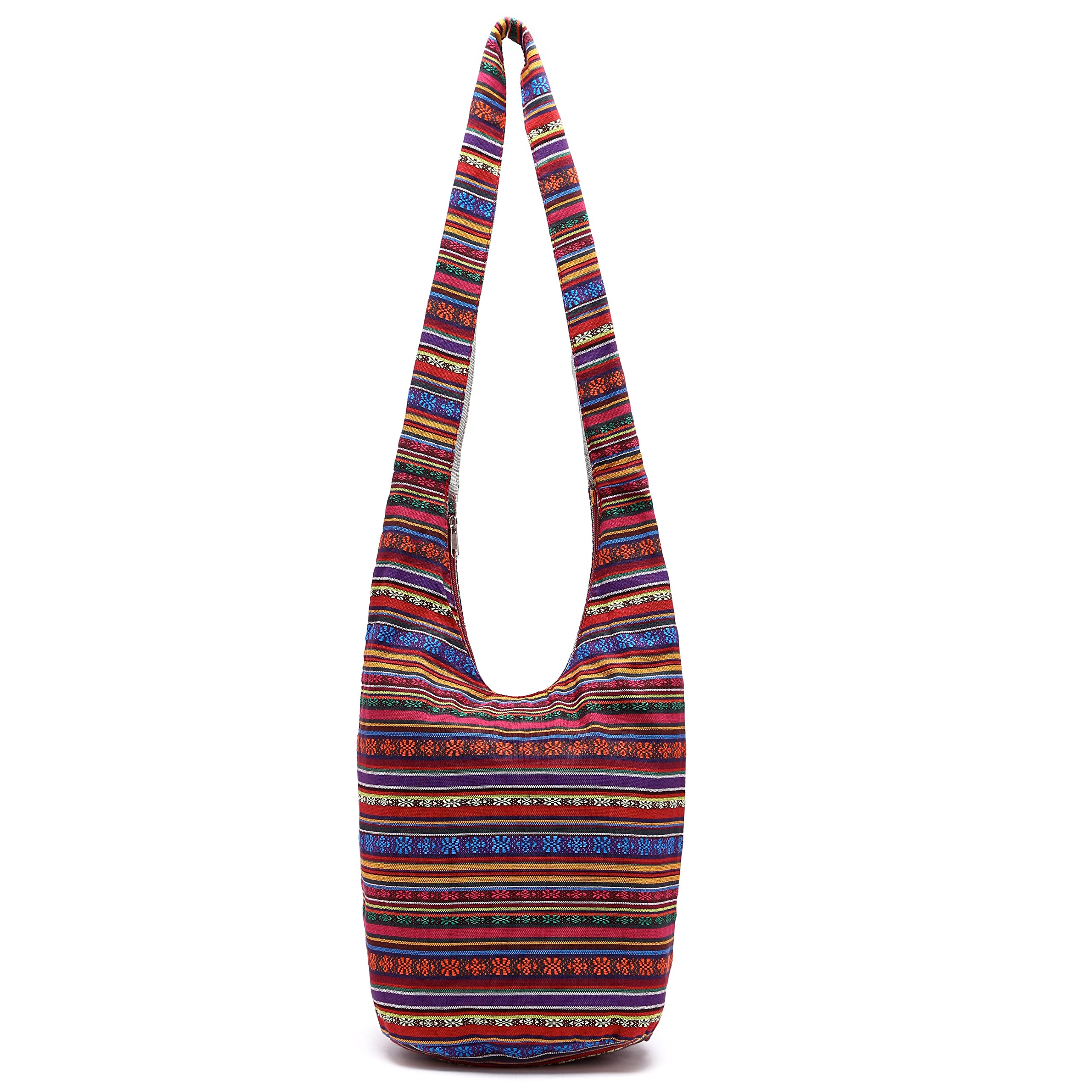 MIANZI Women Hand Fashion canvas Crossbody Bags Cotton Bohemian Animal Prints Hobo Bags (red)