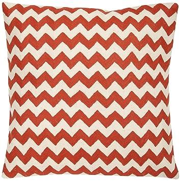 Safavieh Pillow Collection Throw Pillows, 22 by 22-Inch, Striped Tealea Orange Sunburst, Set of 2