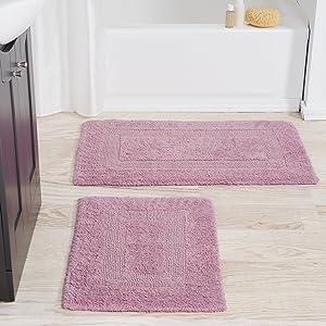 Cotton Bath Mat Set- 2 Piece 100 Percent Cotton Mats- Reversible, Soft, Absorbent and Machine Washable Bathroom Rugs By Lavish Home (Rose)