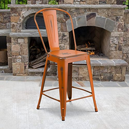Flash Furniture Commercial Grade 4 Pack 24″ High Distressed Orange Metal Indoor-Outdoor Counter Height Stool